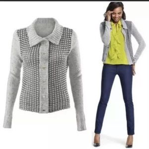 CAbi Gray square stitch sweater style number 3006